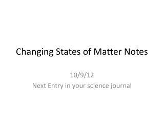 Changing States of Matter Notes