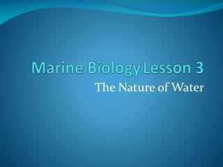 Marine BiologyLesson 3