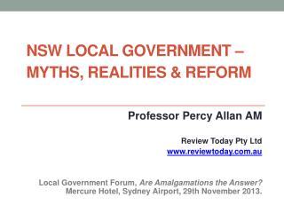 NSW Local Government � Myths, Realities & Reform