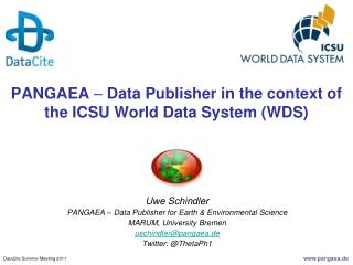 PANGAEA  �  Data  Publisher in the context of the ICSU World Data System (WDS)