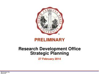 PRELIMINARY Research Development Office Strategic Planning