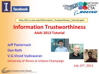 Information Trustworthiness AAAI 2013  Tutorial