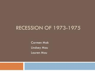 Recession of 1973-1975