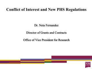 Conflict of Interest and New PHS Regulations