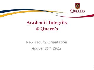 Academic Integrity  @ Queen's