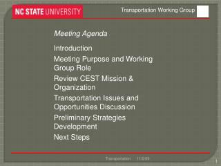 Meeting Agenda Introduction Meeting  Purpose and Working Group Role Review CEST Mission &  Organization Transportation