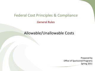 Federal Cost Principles & Compliance