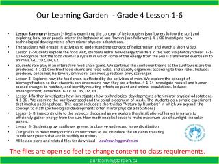 Our Learning Garden  - Grade 4  Lesson  1-6