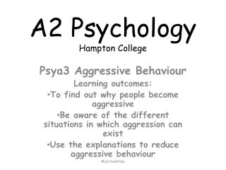 A2 Psychology Hampton College