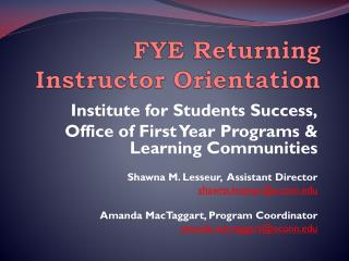 FYE Returning Instructor Orientation
