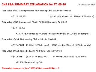 CNR F&A SUMMARY EXPLANATION for FY '09-10 D.  Robison, Jan. 2010 Total value of NC State sponsored F&A bearing C&G acti