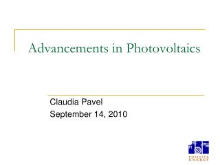 Advancements in Photovoltaics