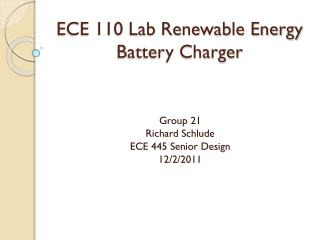 ECE 110 Lab Renewable Energy Battery Charger