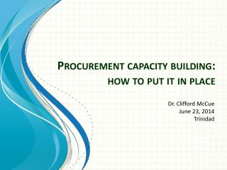 Procurement capacity building: how to put it in place