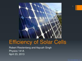 Efficiency of Solar Cells