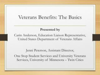 Veterans Benefits: The Basics
