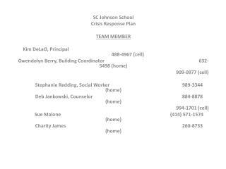 SC Johnson School  Crisis Response Plan TEAM  MEMBER Kim  DeLaO , Principal                 488-4967 (cell