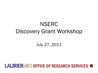 NSERC  Discovery Grant Workshop