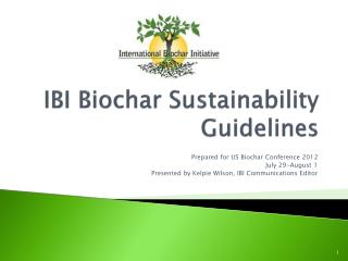 IBI Biochar Sustainability  Guidelines