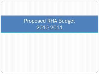 Proposed RHA Budget  2010-2011