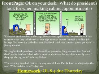 Homework : OL 8.4 due Thursday