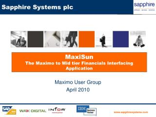 MaxiSun  The Maximo to Mid tier Financials Interfacing Application