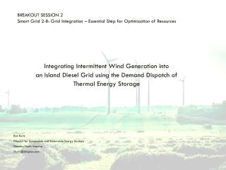 BREAKOUT SESSION 2 Smart Grid 2-B: Grid Integration – Essential Step for Optimization of  Resources