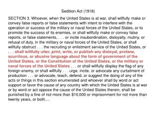Sedition Act (1918)