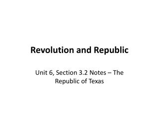 Revolution and Republic