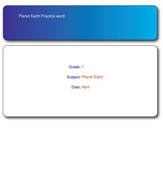 Planet Earth Practice word