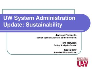 UW System Administration Update: Sustainability