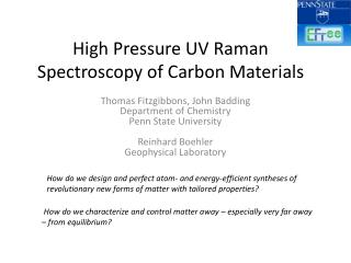 High Pressure UV Raman Spectroscopy of Carbon Materials