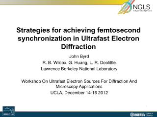 Strategies for  achieving  femtosecond  synchronization in Ultrafast Electron Diffraction