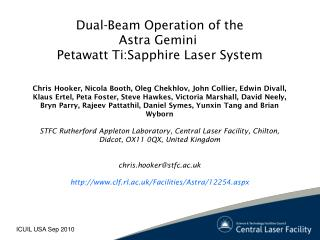Dual-Beam Operation of the Astra Gemini  Petawatt Ti:Sapphire Laser System