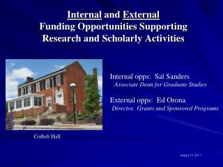 Internal  and  External  Funding Opportunities Supporting Research and Scholarly Activities