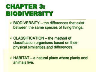 CHAPTER 3: BIODIVERSITY