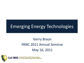 Emerging Energy Technologies