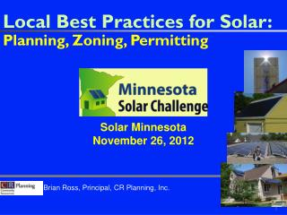 Local Best Practices for Solar:  Planning, Zoning, Permitting