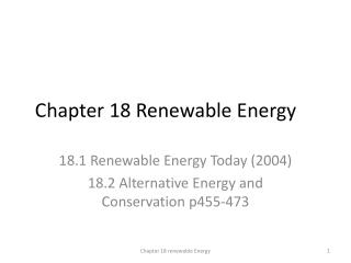 Chapter 18 Renewable Energy