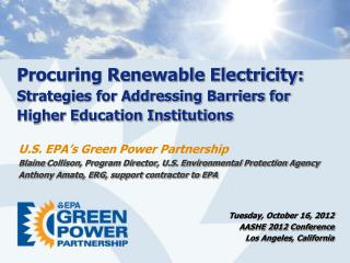 Procuring Renewable Electricity:  Strategies for Addressing Barriers for Higher Education Institutions