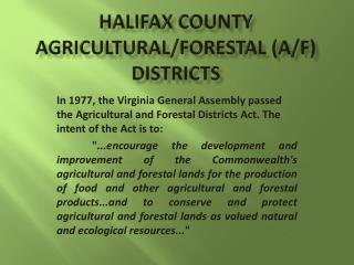 Halifax County Agricultural/Forestal (A/F) Districts