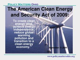 The American Clean Energy and Security Act of 2009: