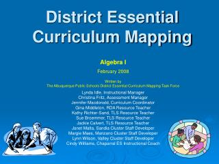 district essential curriculum mapping