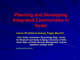 Planning and Developing Integrated Communities in Israel