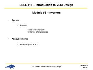 EELE  414 � Introduction to VLSI Design