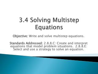 3.4 Solving Multistep Equations