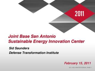 Joint Base San Antonio  Sustainable Energy Innovation Center