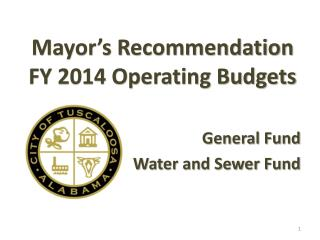 Mayor's Recommendation FY 2014 Operating Budgets