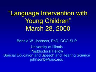 language intervention with young children