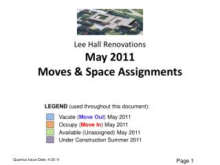 Lee Hall  Renovations May 2011 Moves & Space Assignments